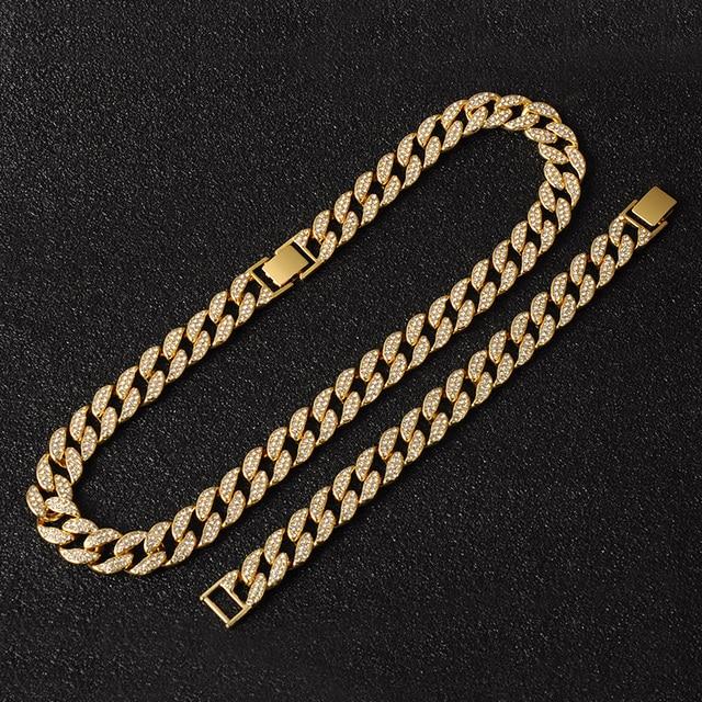 Oro Hip Hop Miami Curb cadena cubana con piedras de imitación incrustadas CZ Bling rapero collar de oro + reloj + pulsera de joyería para hombres 6