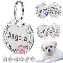 25mm Round Engraved Dog Tag Pet Dog Collar Accessories Custom Cat Id Tag Stainless Steel Bone Paw Name Tags Anti-Lost flowgogo anti lost stainless steel dog id tag engraved pet cat puppy dog collar accessories telephone name tags pet id tags