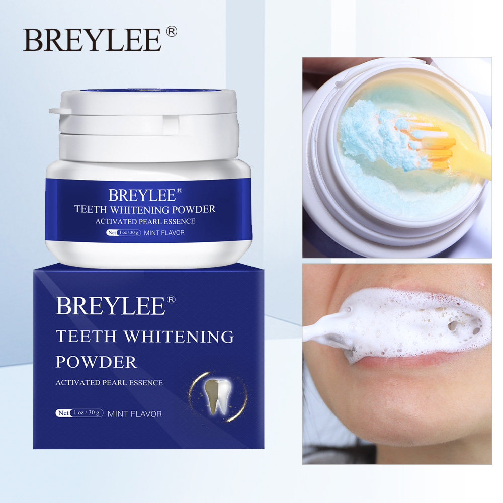 BREYLEE Polvo para blanquear los dientes esencia en Perla Natural pasta Dental Kit de higiene bucal