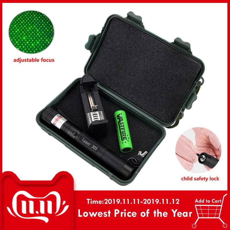 532 nm Grün Jagd Laser Anblick Laser Pointer Leistungsstarke gerät Einstellbarer Fokus Lazer mit laser 303 + Ladegerät + 18650 batterie + Box