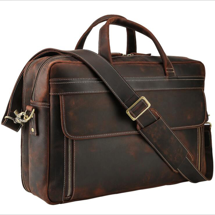 MAHEU Big Size Leather Briefcase For Man Male Genuine Leather Laptop Business Bag With Shoulder Strap Travel Briefcase On Case