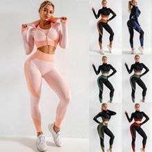 3 peça conjuntos de yoga das mulheres de fitness esporte wear leggings alta suporte sutiã colheita superior roupas treino ginásio ternos yoga sem costura