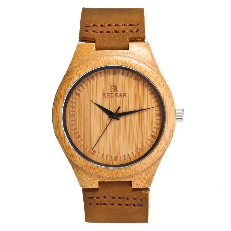 2020 New Arrival New Wooden Watches Leather Couples Bamboo Spot Wholesale Indonesian Market.i Single-handedly Supply Table
