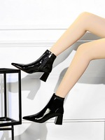 Female boots winter boots thick with high heels fashion sexy contracted the glossy coat of paint show thin club