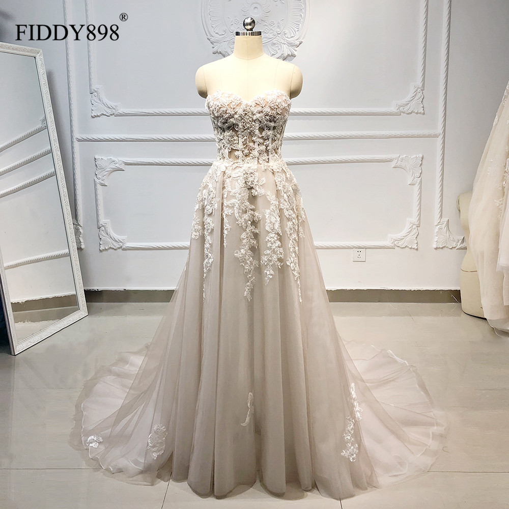 Boho Wedding Dress Long Strapless Tulle A-Line Crystal Pearls Beaded Lace Bridal Gown Beach Wedding Gown Vestido De Novia 2020