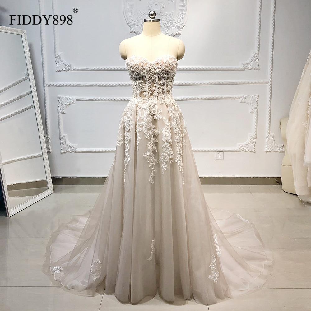 Boho Wedding Dress Long Strapless Tulle A-Line Crystal Pearls Beaded Lace Bridal Gown Beach Wedding Gown Vestido De Novia 2020