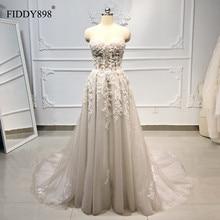 Boho 웨딩 드레스 긴 strapless tulle a 라인 크리스탈 진주 페르시 레이스 신부 가운 비치 웨딩 드레스 vestido de novia 2020
