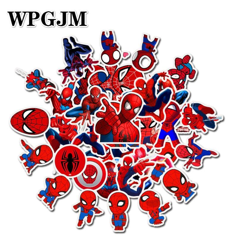 35Pcs Marvel Anime Super Hero Spiderman Stickers Toy Waterproof Sticker Car Skateboard Suitcase Laptop Refrigerator