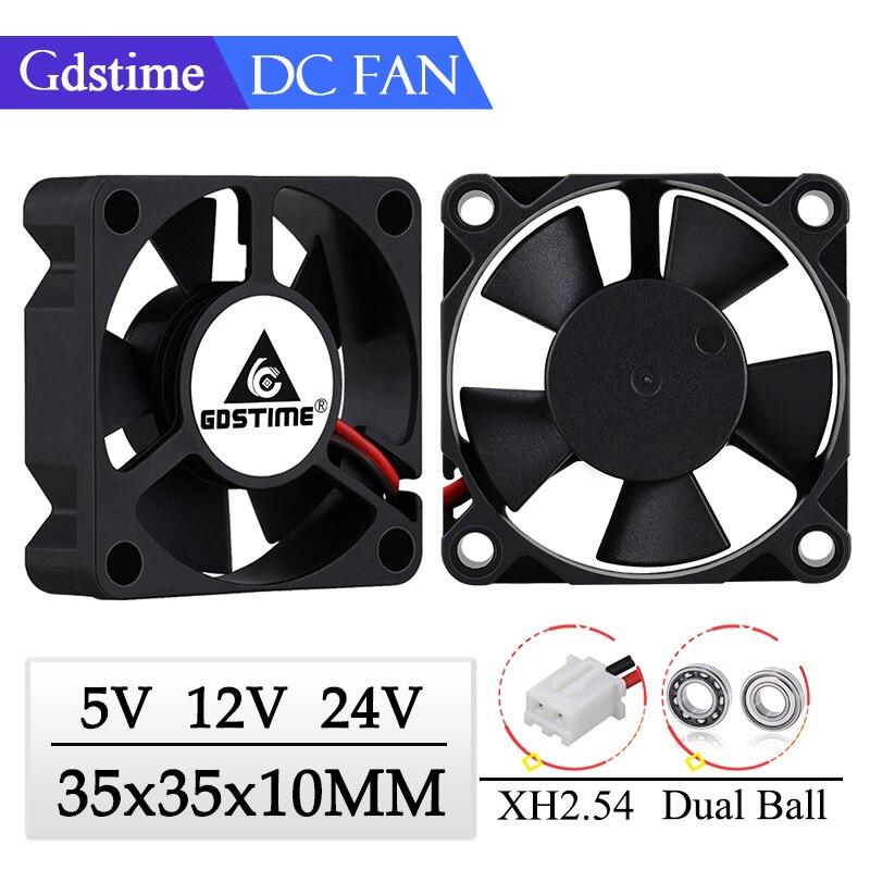 Gdstime 2 Pieces 35x35x10mm 35mm 3510 5V 12V 24V Brushless DC Cooling Cooler Fan 35mmx35mmx10mm 3.5cm Axial Mini Radiator Fan