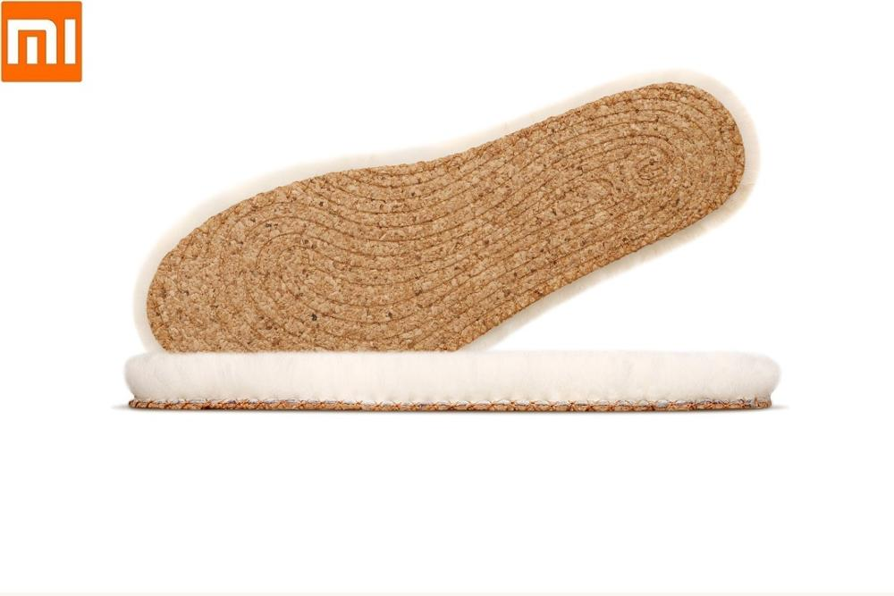 Xiaomi Warm wool skin one cork insole Thickened Anti-cold Winter Wool Insoles Man woman Breathable Plush Shoe pad