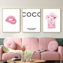 Lábios de perfume cartaz nórdico moda arte da parede cópias aquarela blush rosa peônias pintura em tela mulher imagem sala estar decoração