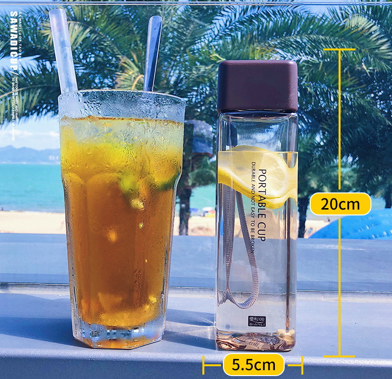 H910faf4dd66c40bbacdeea0a0785acecJ 500ml Cute New Square Tea Milk Fruit Water Cup for Water Bottles Drink with Rope Transparent Sport Korean Style Heat Resistant