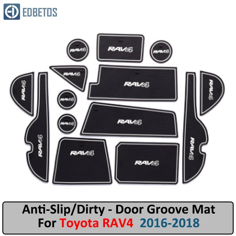 Door Groove Mat For Toyota RAV4 Rav 4 2016 2017 2018 Anti-Slip Mat Gate Slot Coaster Anti-Dirty Mat Car Interiors Gel Pad Rubb