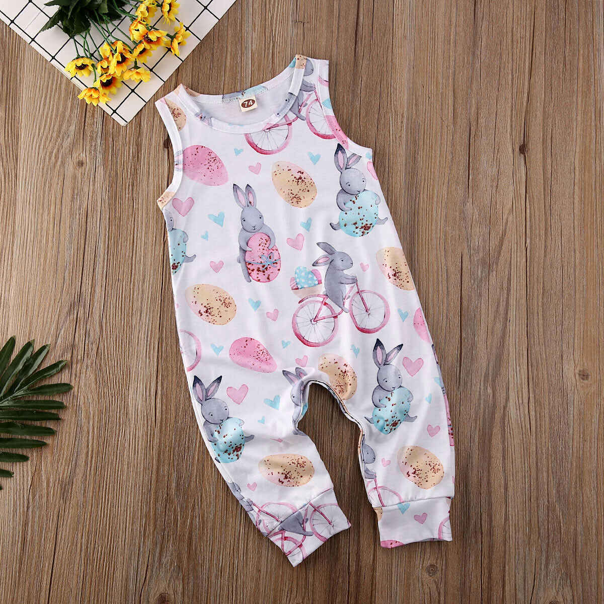 2019 Newborn Baby Girl Boy Easter Bunny Clothes Romper Playsuit Sunsuit Outfit Set
