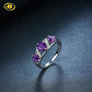 Hutang 3 stones Amethyst Women's Ring Solid Silver 925 Natural Gemstone 1.7ct Engagement Wedding Fine Jewelry(China)