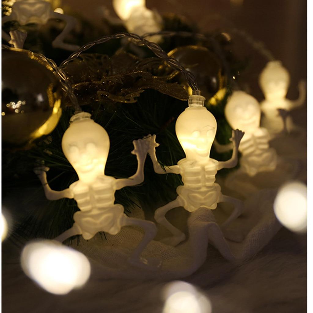 Skull Bone String Lights 10/20 LED String Holiday Lighting Fairy Garland For Halloween Skull Bone Home Party Decoration Lamp
