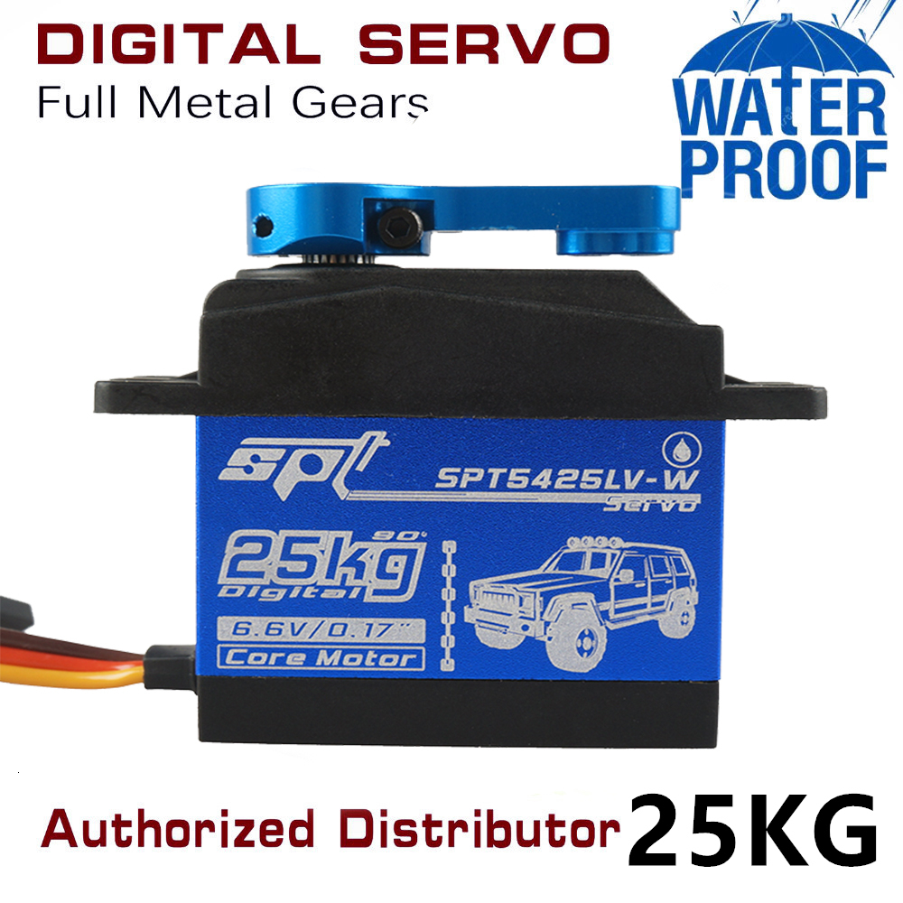 Waterproof Metal Gear SPT 5425lv 25kg Large Torque Digital Coreless Servo for RC Car TRAXXAS Crawler TRX4 baja boat Robot