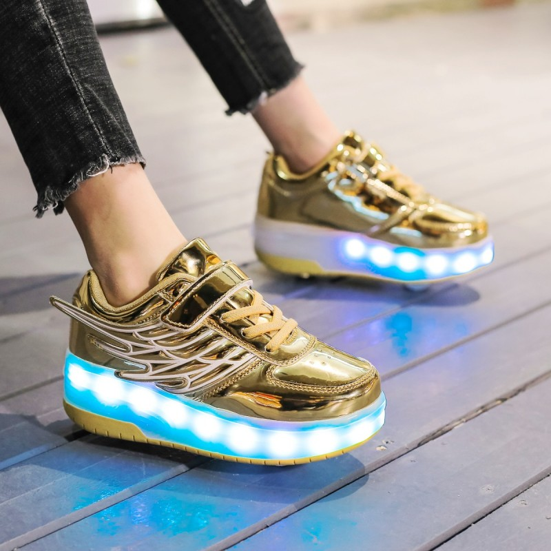 Two Wheels Luminous Sneakers USB Charging Led Light Roller Skate Shoes For Children Kids Shoes Boys Girls Shoes Light Up  Heelys