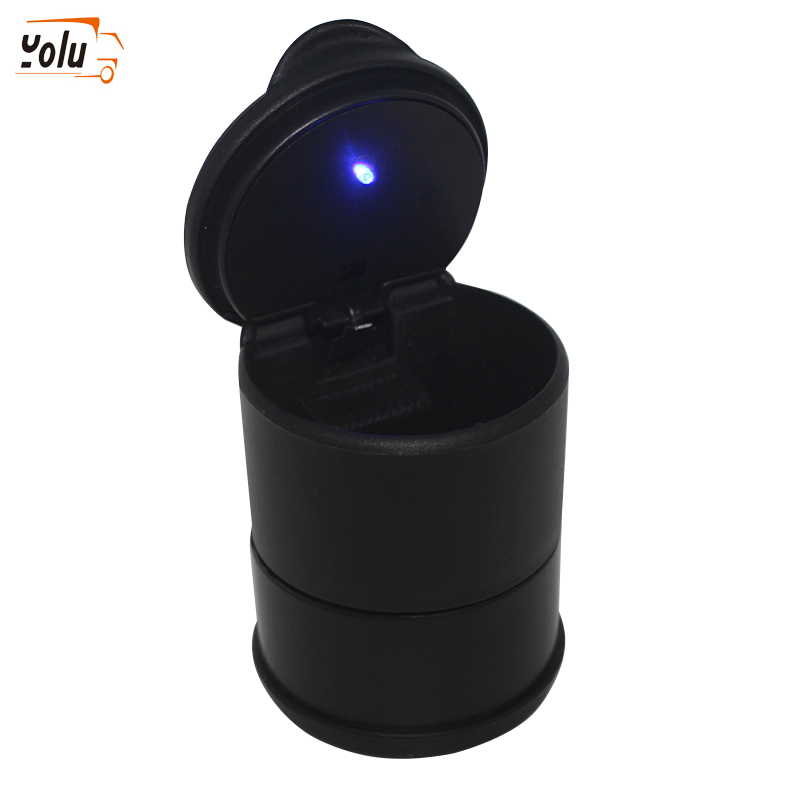 Yolu 1PCS Car LED Ashtray Garbage Coin Storage Cup Container Cigar Ash Tray Car Styling Universal Size