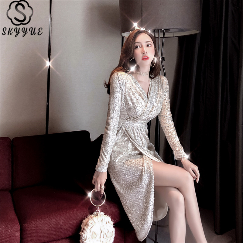 Skyyue Evening Dresses V-Neck Long Sleeve Sequined Custom Color Robe De Soiree K056 Pleat Solid Plus Size Dress Woman Party