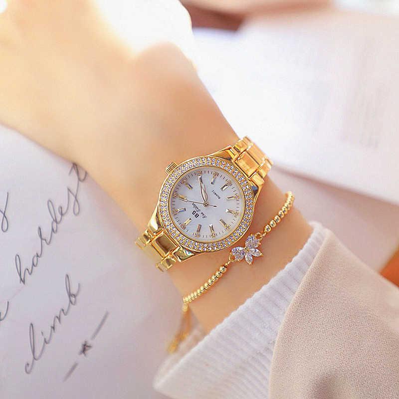 2021 גבירותיי יד שעונים שמלת שעון זהב נשים קריסטל יהלומים שעונים נירוסטה כסף שעון נשים Montre Femme 2020