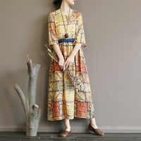 Original high-end vestido retro impressão cultural de rami pura rendas cintura fina saia longa primavera e verão