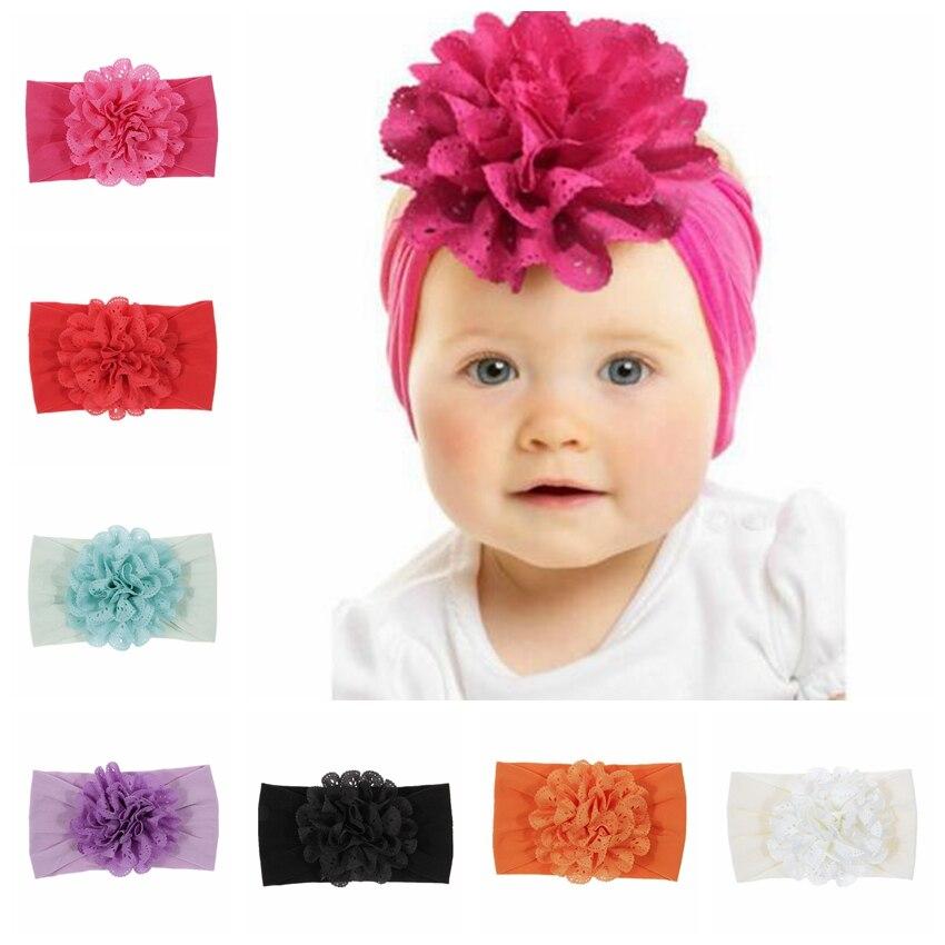 Yundfly Baby Girl Big Fabric Flower Headband Handmade Children Turban Headwraps Stretchy Nylon Flower Wide Hair Band Cute Gift