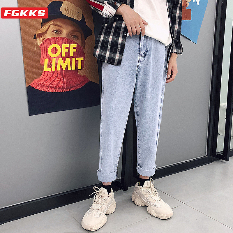 FGKKS Trend Brand Men Straight Jeans Spring Summer New Men's Fashion Casual Wild Ankle-Length Pants High Street Jeans Male