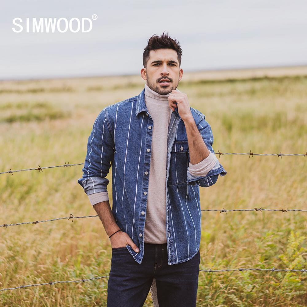 SIMWOOD 2020 Spring New Vertical Striped Denim Jackets Men Indigo Washed Contrast Color  100% Cotton Thin Outerwear SI980740