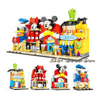 City legoinglys princess Castle SY6800 Street View Block Beach Mickey Game House Bar Brick for girl Toy