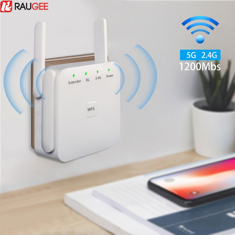 Raugee WiFi Repeater Wireless WiFi Extender 300/1200Mbps 2.4G 5G WiFi Signal Booster Amplifier Range Extender For Wi-Fi Router