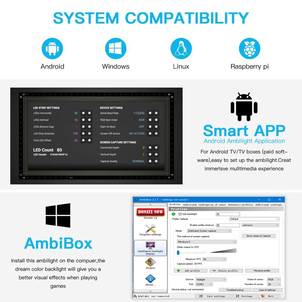 DIY Ambilight TV PC Dream Screen USB LED Strip HDTV Computer Monitor Backlight Addressable WS2812B LED Strip 1/2/3/4/5m Full Set 4