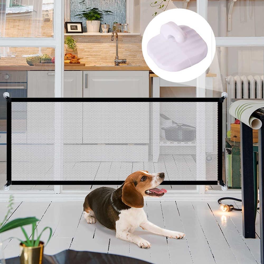 2020 magique chien porte barrière pour animaux de compagnie barrière pliant sécurité garde intérieur extérieur chiot chien séparation protéger clôture fournitures pour animaux de compagnie