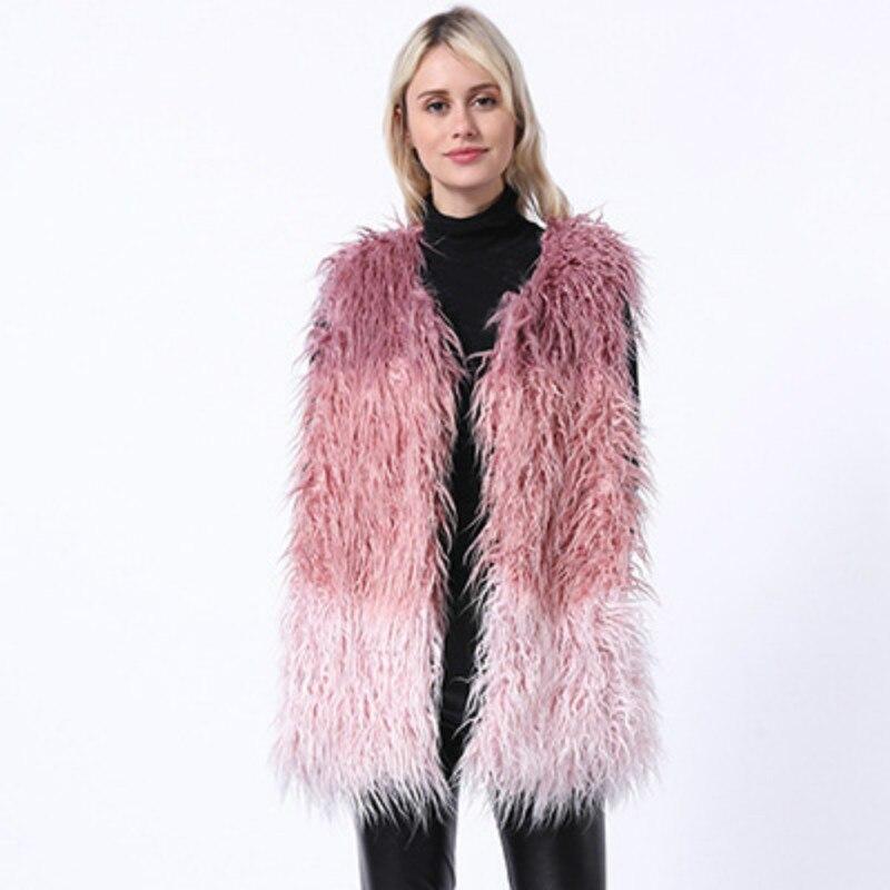 Women's Vest 2019 Winter Female Fur Coats From Artificial Fur Gilet Casual Long Fox Vests Color Stitch Elegant Pink Warm Outwear