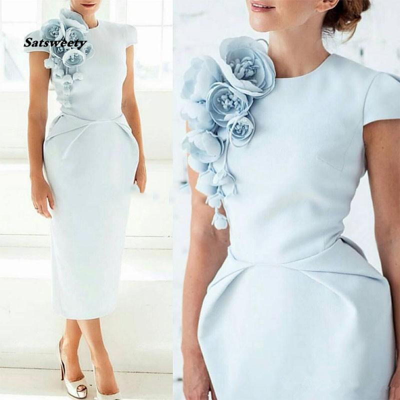 Elegant Formal Evening Dresses With Hand Made Flower Pageant Capped Short Sleeve 2019 Tea-Length Prom Party Cocktail Gown