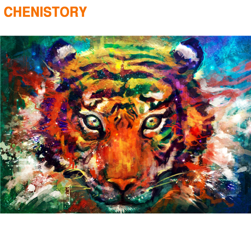 CHENISTORY Frame Color Tiger DIY Painting By Numbers Kit Animals Coloring By Numbers Acrylic Canvas Draw Painting Wall Art Decor