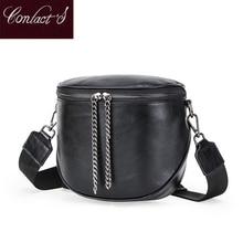 Fashion Genuine Leather Crossbody Bags For Women Shoulder Bag Luxury Semicircle Saddle Messenger Bag Female Tote Bag Handbags