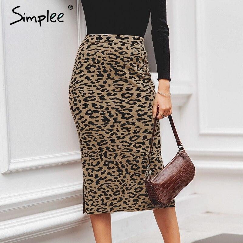 Simplee Leopard Print Knitted Women Midi Skirt High Waist Autumn Winter Sweater Skirt Leisure Party Wear Ladies Bottom Skirt