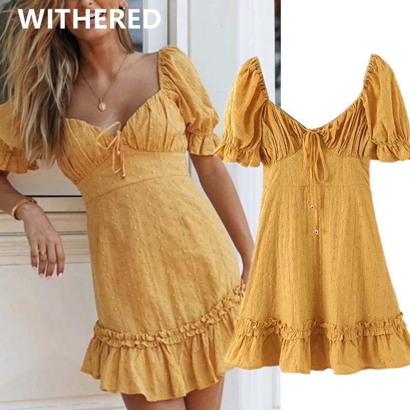 Withered Ins Fashion Blogger Vintage Embroideried 2020 Summer Dress Women Vestidos De Fiesta De Noche Vestidos Party Dresses