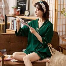 SONG-Conjuntos de pijama para mujer, ropa Sexy de manga corta, estilo japonés, informal, uso exterior para el hogar, con cuello en V, novedad de verano de 2021