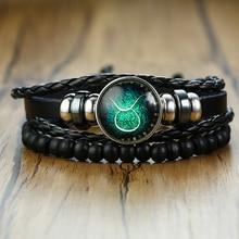 Vnox Aries 12 horóscopo pulseras de cuerda de cuero multicapa para hombres mujeres regalos Vintage pulseira joyería