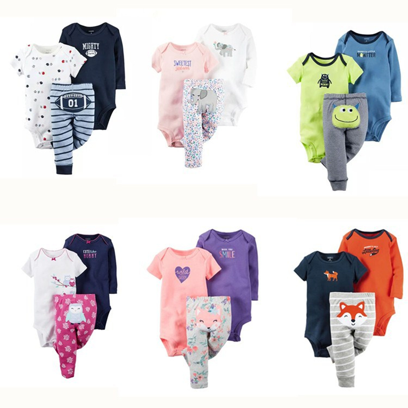 2020 New Spring 3pcs Baby Boy Clothes Infant Cartoon Cotton Rompers and Pants Trousers Set Newborn Toddlers Baby Girl Clothing