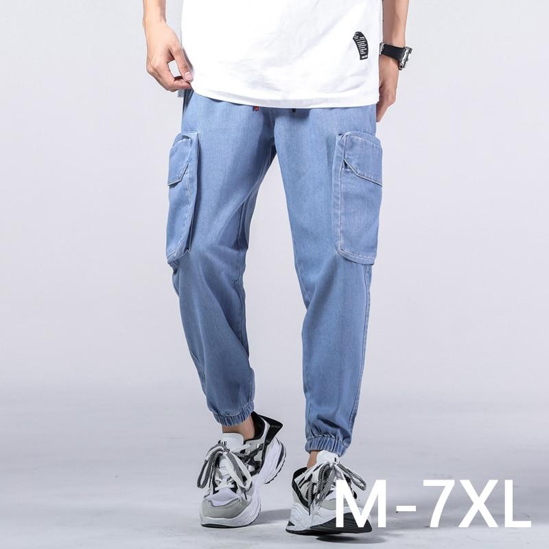 $27 Men's casual trousers overalls elastic waist full len multi-pocket plus fertilizer XL men's clothing big size cargo pants 7XL