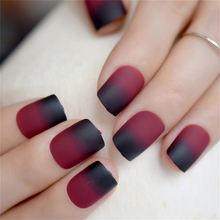 Matte Wine Red False Nail Patches Girl Korean Women Manicure