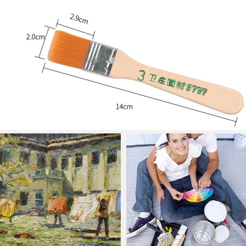 Высококачественная нейлоновая кисть для рисования различных размеров, акварельные кисти с деревянной ручкой для акриловой масляной краски, школьные принадлежности для искусства 6