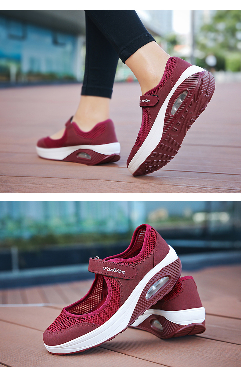 STS Brand 2019 New Fashion Women Sneakers Casual Air Cushion Hook & Loop Loafers Flat Shoes Women Breathable Mesh Mother's Shoes (13)