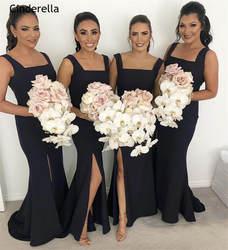 Темно-синее платье Золушки с квадратными бретелями, с разрезом сбоку, шелковое атласное платье подружки невесты в стиле русалки, свадебные