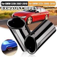 Tubo silenciador de escape de coche, punta de escape de 68-58mm, tubos traseros de acero inoxidable para BMW E90, E92, 325i, 328i, 2004-2008