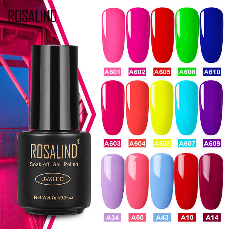 Rosalind Gel Nagellak Neon Kleur Set Voor Manicure Semi Permanente Uv Base Top Coat Nail Gel Polish Nail Art gel Vernis Hybrid