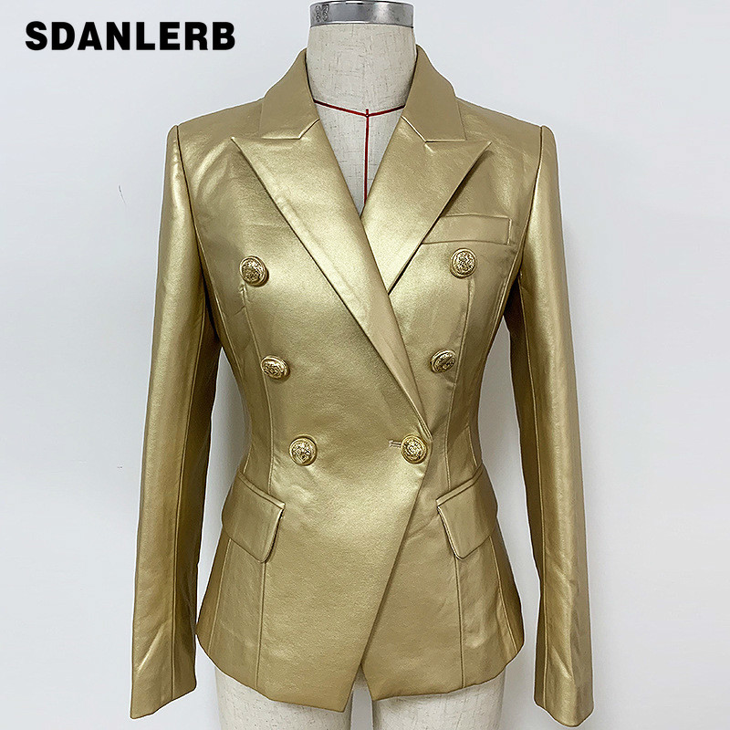 2019 New Winter High Quality Gold Pu Leather Jacket Women Blazer Femme Metal Buckle Double Breasted Slim-Fit Suit Leather Jacket